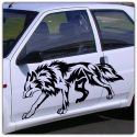 2 Stickers tribal loup