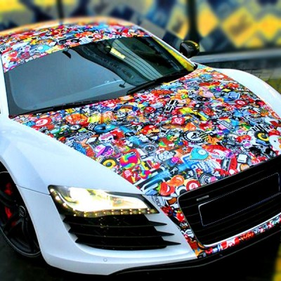 JDM stickerbomb capot voiture