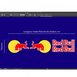 Autocollants stickers red bull portieres specification